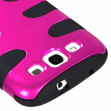 Samsung Galaxy S III 3 Hybrid FISHBONE Rubber Case Phone Cover Rose Pink Black
