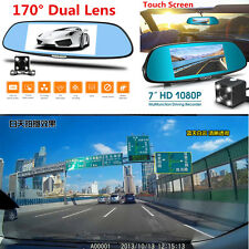 7'' 1080P 170° Dual Lens Car Dash Cam DVR Camera Rearview Mirror Video Recorder