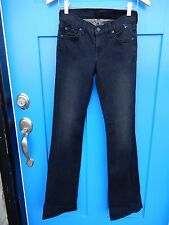 7 FOR ALL MANKIND Sz 25 The Skinny Bootcut Stretch Jeans Black Slim Fit Wide Leg