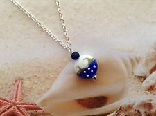 NAUTICAL OCEAN WAVE LAMPWORK BEAD BLUE SEA GLASS BEACH PENDANT JEWELLERY
