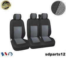 2+1 Luxe Housse Couvertures Gris Noir Pour Opel Movano Vivaro