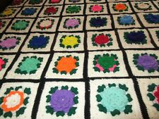 "Lg Vintage Crochet Afghan Blanket 3-D Roses 83"" x 68"" Queen Full Twin Sofa Throw"