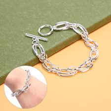 Fashion Punk Bracelet Alloy Silver Geometry Chain Bangle Charm Jewelry Gifts UK