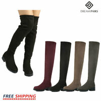 DREAM PAIRS Women's Fashion Over The Knee Boots Chunky High Heel Boots