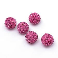 10 Stück Strassperlen Beads Perlen Shamballa  Rosa 12 mm -2835