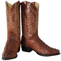 Men's New  Ostrich Crocodile Design Leather Cowboy Western Boots Cognac J Toe