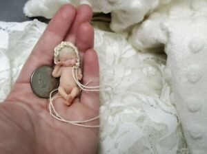 ~Ooak Hand-Sculpted Miniature 1/12 Scale Art Doll~Newborn Polymer Clay Baby Girl