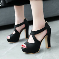 Women's Platform Sandals Strappy Open Toe Chunky Heel Party Club Wedding Shoes
