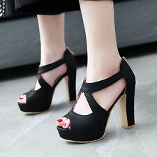 Women's Platform Sandals Strappy Cross Open Toe Block Heels Party Shoes US 6