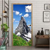 3D Alpine Mountains Self-Adhesive Living Room Door Stickers Wall Murals Poster
