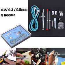 Dual Action Air Brush 3 Nozzles 3 Needles Cup Airbrush Spray Gun Make Up Kit