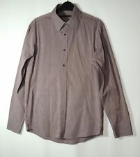 BURGUNDY GREY STRIPED GENTS CASUAL SHIRT SIZE S REISS COTTON