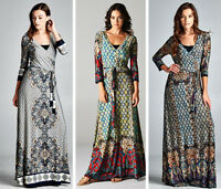 Bohemian Hippie Gypsy Boho Maxi Dress Wrap Moroccan Mosaic S-3XL - NEW
