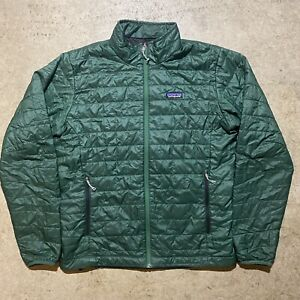 Men's Patagonia Puffer Quilted Down Jacket Forest Green Size Medium