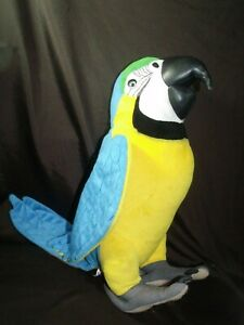 Discovery channel talking repeat pete plush blue and gold macaw parrot realistic