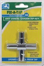 FIX-A-TAP Anti Vandal Garden Tap Key 4 way - suits 4 Tap Spindle Types