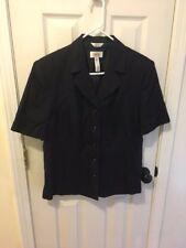 Talbot's Woman's Short-sleeve Jacket Size 16 ~Navy ~ Italian Linen Blend ~ Lined