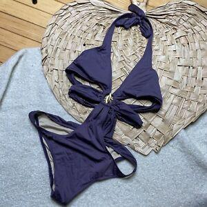 Victoria's secret one piece monokini M swimsuit strappy bathing suit purple