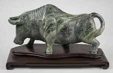 China Chinese Carved Green Stone Figure of an Ox w/ Custom Base ca. 20th c.