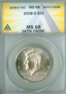 2008-D SATIN FINISH KENNEDY HALF DOLLAR ANACS MS-68 FREE S/H (2126554)