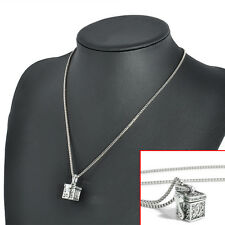 Cremation Pendant Necklace Jewellery For Pet Ashes Vintage Silver Metal Urn Gift