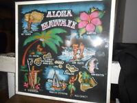 Vintage 1950's Hawaiian Souvenir Print Aloha Hawaii Map Surf Riders Kamehameha