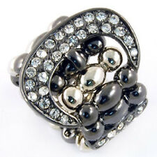 Crystal Buckle Stretch Ring Hematite Tone
