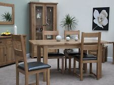 Brooklyn solid oak furniture extending dining table and four chairs set
