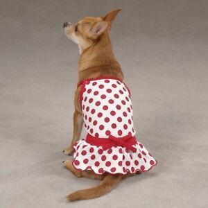 ZACK & ZOEY Dog Clothes Nantucket Red Polka Dot Sun Dress Clothing Size Medium M