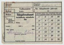 1944 Russia Soviet Estonia WWII Era 1/2 Fresh Milk Daily Allowance Coupon Card