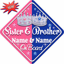 Personalised Sister & Brother Baby/ child on Board Car Window Sign Prince/ss