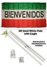 3x5 Advertising Bienvenidos Red White Green Flag White Pole Kit Set 3'x5'