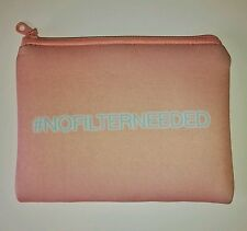 "NEW Pale Salmon Pink ""# No Filter Needed"" Make Up Cosmetics Bag Flat Zip Pouch"