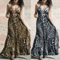 Summer Women Spaghetti Strap V Neck Backless Leopard Print Party Long Maxi Dress