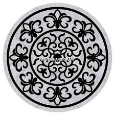 White Round Marble Coffee Top Table Semi Precious Inlaid Traditional Decor H5100