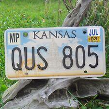 Véritable Plaque D'Immatriculation KANSAS (QUS805) USA License plate