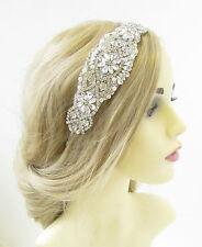 Ivory Silver Diamante Bridal Headband Headpiece Vintage Beaded White Deco 1007