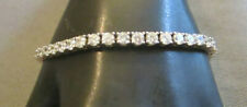 925 Silver (Sterling) Bracelet Crystal Accents Round Tennis Style by J