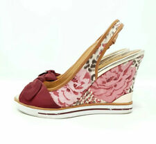 Guess Charol Peep Toe Cuña Zapatos Floral Animal Print Rockabilly Tacones UK 5