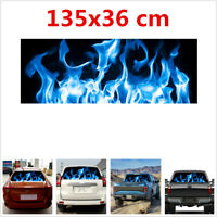1Pcs PV 135x36 cm Blue Flame Graphics Sticker Universal For Car Rear Windshield