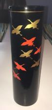 Wajima Oke Enamel Bird Heron Crane Cylindrical Vase