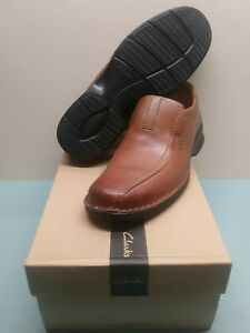 Mens Clarks ESCALADE STEP Brown Leather Slip-On Loafer/Dress/Business Shoes 11.5