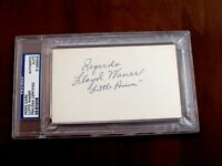 LLOYD WANER LITTLE POISON PIRATES HOF SIGNED AUTO VINTAGE INDEX CARD PSA/DNA