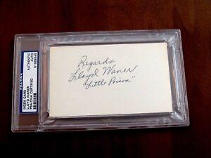 LLOYD WANER LITTLE POISON PIRATES HOF SIGNED AUTO VINTAGE INDEX CARD PSA/DNA