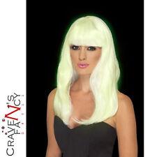Adult Glow in the Dark Long Wig Ladies Halloween Fancy Dress Accessory New