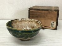 Y2323 CHAWAN Oribe-ware kintsugi box Japan pottery antique tea ceremony bowl