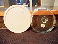 NEW! French White Pyrex Glass 2.5 Qt. Replacement Lid G-1-C + Plastic Lid FS-1PC