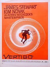 Rare! 1958 Alfred Hitchcock Vertigo Movie Ad Full pg Red Saul Bass Vintage Ad