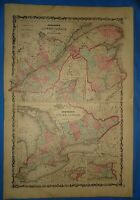Vintage Circa 1862 CANADA QUEBEC Antique Original Johnson Atlas Map - Free S&H