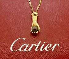 Authentic Vintage Cartier Trinity Hand Pearl Pendant Necklace in 18k Gold - RARE